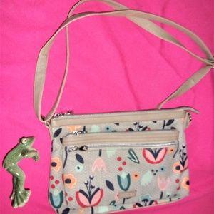 Relic floral shoulder purse canvas faux leather